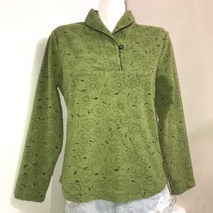 WoolRich Leaf Green Embroidered Buttoned Sweater